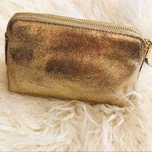 INDIA HICKS METALLIC GOLD LEATHER MAKEUP BAG